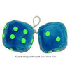 4 Inch Bubblegum Blue Furry Dice with Lime Green Dots