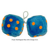 4 Inch Bubblegum Blue Furry Dice with Orange Dots