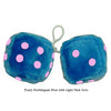 4 Inch Bubblegum Blue Furry Dice with Light Pink Dots