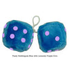 4 Inch Bubblegum Blue Furry Dice with Lavender Purple Dots
