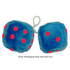 4 Inch Bubblegum Blue Furry Dice with Red Dots