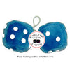 4 Inch Bubblegum Blue Furry Dice with White Dots