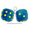 4 Inch Bubblegum Blue Furry Dice with Yellow Dots