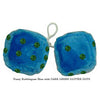 4 Inch Bubblegum Blue Furry Dice with DARK GREEN GLITTER DOTS