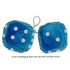 4 Inch Bubblegum Blue Furry Dice with SILVER GLITTER DOTS