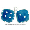 4 Inch Bubblegum Blue Furry Dice with WHITE GLITTER DOTS