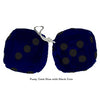 3 Inch Dark Blue Furry Dice with Black Dots
