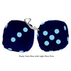 3 Inch Dark Blue Furry Dice with Light Blue Dots