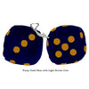 3 Inch Dark Blue Furry Dice with Light Brown Dots