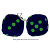 3 Inch Dark Blue Furry Dice with Dark Green Dots