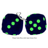 3 Inch Dark Blue Furry Dice with Lime Green Dots
