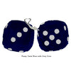 3 Inch Dark Blue Furry Dice with Grey Dots