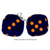 3 Inch Dark Blue Furry Dice with Orange Dots