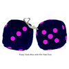 3 Inch Dark Blue Furry Dice with Hot Pink Dots