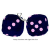 3 Inch Dark Blue Furry Dice with Light Pink Dots