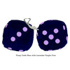 3 Inch Dark Blue Furry Dice with Lavender Purple Dots