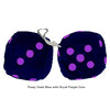 3 Inch Dark Blue Furry Dice with Royal Purple Dots
