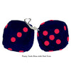 3 Inch Dark Blue Furry Dice with Red Dots
