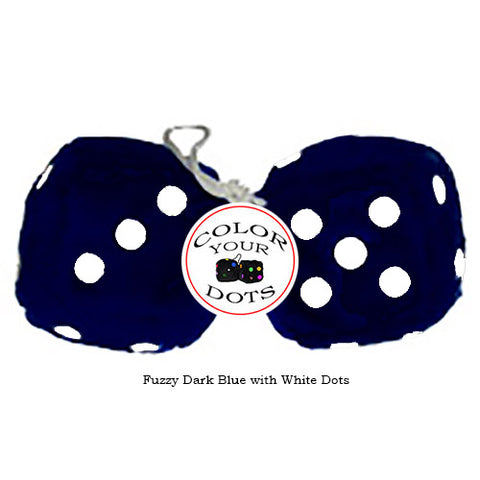 3 Inch Dark Blue Furry Dice with White Dots