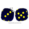 3 Inch Dark Blue Furry Dice with Yellow Dots