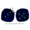 3 Inch Dark Blue Furry Dice with DARK GREEN GLITTER DOTS