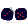 3 Inch Dark Blue Furry Dice with RED GLITTER DOTS