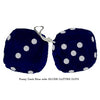 3 Inch Dark Blue Furry Dice with SILVER GLITTER DOTS