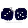 3 Inch Dark Blue Furry Dice with WHITE GLITTER DOTS