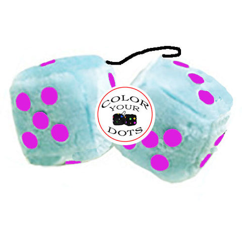 3 Inch Light Blue Fluffy Dice