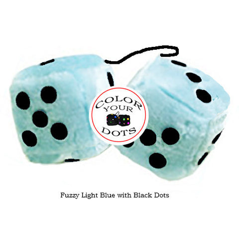 3 Inch Light Blue Fluffy Dice with Black Dots