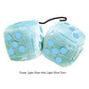 3 Inch Light Blue Fluffy Dice with Light Blue Dots