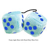 3 Inch Light Blue Fluffy Dice with Royal Navy Blue Dots