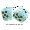 3 Inch Light Blue Fluffy Dice with Dark Brown Dots