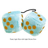 3 Inch Light Blue Fluffy Dice with Light Brown Dots