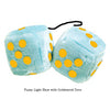 4 Inch Light Blue Plush Dice with Goldenrod Dots