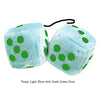 3 Inch Light Blue Fluffy Dice with Dark Green Dots