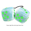 3 Inch Light Blue Fluffy Dice with Lime Green Dots