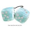 3 Inch Light Blue Fluffy Dice with Goldenrod Dots