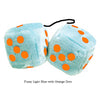 3 Inch Light Blue Fluffy Dice with Orange Dots