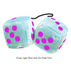 3 Inch Light Blue Fluffy Dice with Hot Pink Dots