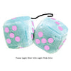 3 Inch Light Blue Fluffy Dice with Light Pink Dots