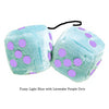 3 Inch Light Blue Fluffy Dice with Lavender Purple Dots