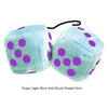 3 Inch Light Blue Fluffy Dice with Royal Purple Dots
