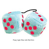 3 Inch Light Blue Fluffy Dice with Red Dots