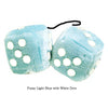3 Inch Light Blue Fluffy Dice with White Dots