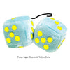 3 Inch Light Blue Fluffy Dice with Yellow Dots