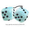 3 Inch Light Blue Fluffy Dice with BLACK GLITTER DOTS
