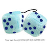 3 Inch Light Blue Fluffy Dice with ROYAL NAVY BLUE GLITTER DOTS