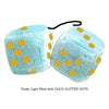 3 Inch Light Blue Fluffy Dice with GOLD GLITTER DOTS