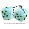 3 Inch Light Blue Fluffy Dice with DARK GREEN GLITTER DOTS